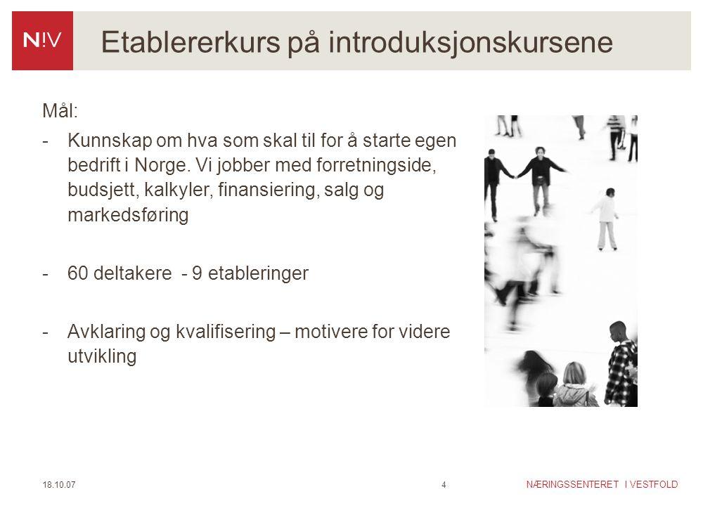 NÆRINGSSENTERET I VESTFOLD 18.10.074 Etablererkurs på introduksjonskursene Mål: -Kunnskap om hva som skal til for å starte egen bedrift i Norge. Vi jo