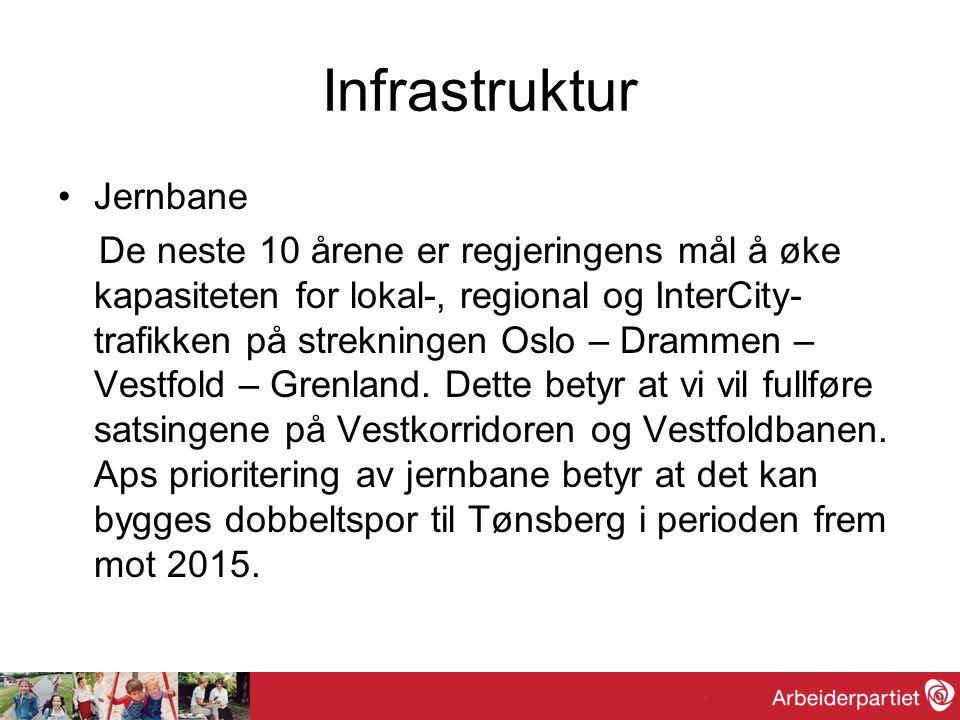 Infrastruktur Vei På veisiden prioriteres den kommende perioden å bygge ut E18 til firefelts veg gjennom Buskerud og Vestfold.