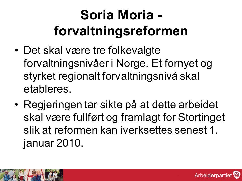 Soria Moria - forvaltningsreformen Det skal være tre folkevalgte forvaltningsnivåer i Norge.