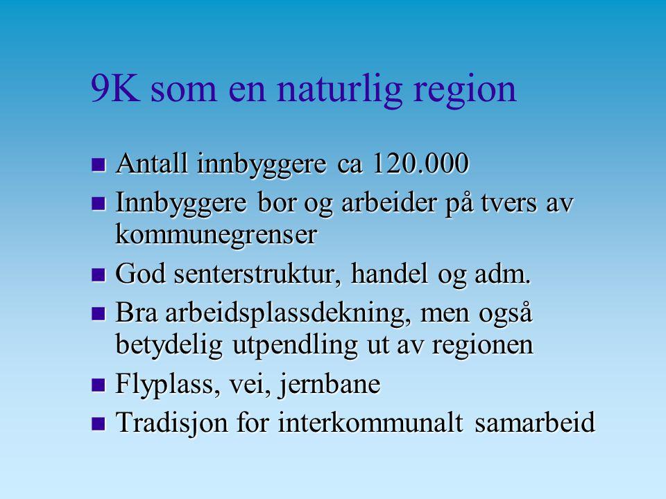 9K som en naturlig region n Antall innbyggere ca 120.000 n Innbyggere bor og arbeider på tvers av kommunegrenser n God senterstruktur, handel og adm.