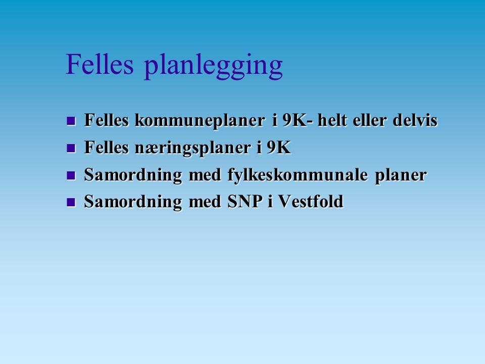 Felles planlegging n Felles kommuneplaner i 9K- helt eller delvis n Felles næringsplaner i 9K n Samordning med fylkeskommunale planer n Samordning med SNP i Vestfold