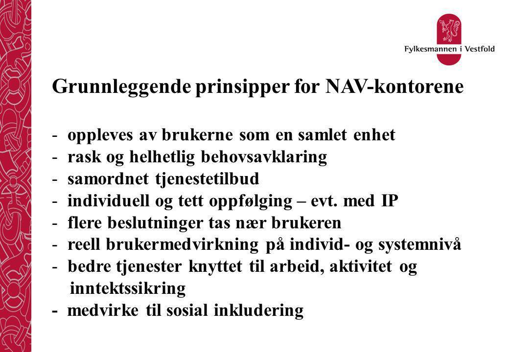 Grunnleggende prinsipper for NAV-kontorene - oppleves av brukerne som en samlet enhet - rask og helhetlig behovsavklaring - samordnet tjenestetilbud - individuell og tett oppfølging – evt.