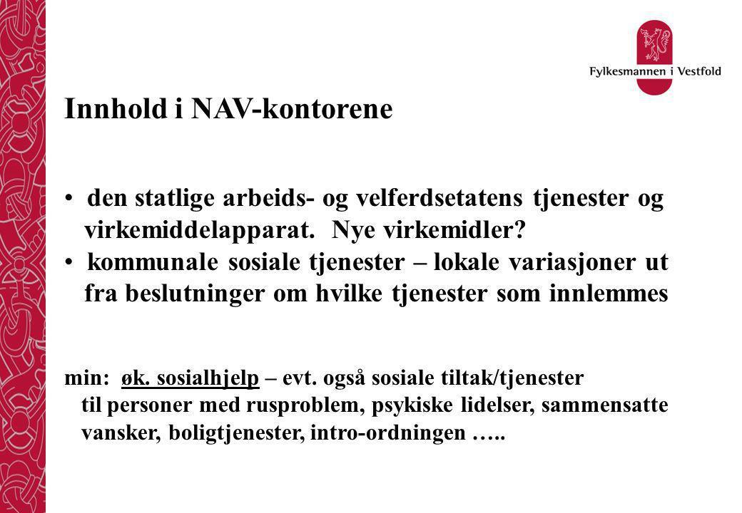 Innhold i NAV-kontorene den statlige arbeids- og velferdsetatens tjenester og virkemiddelapparat.