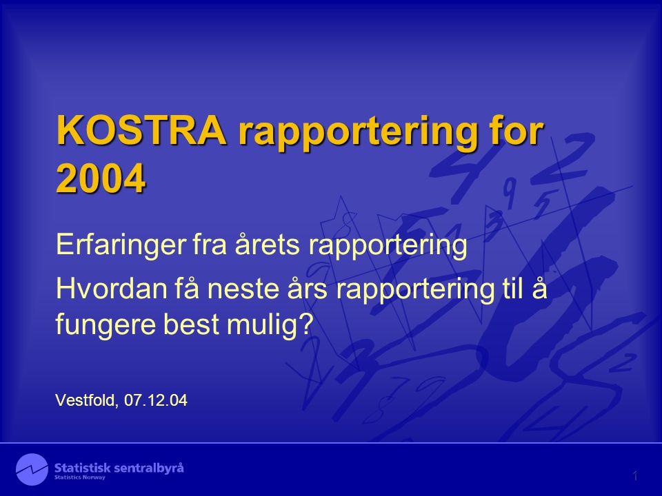 KOSTRA rapportering for 2004 Erfaringer fra årets rapportering Hvordan få neste års rapportering til å fungere best mulig.