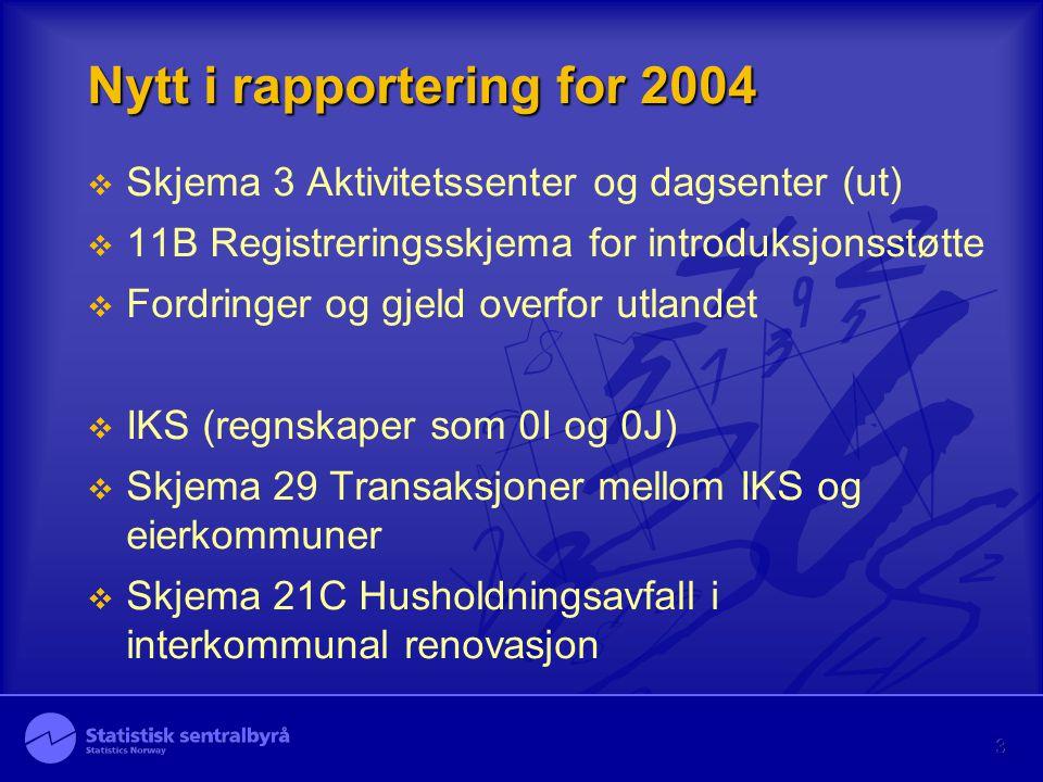 3 Nytt i rapportering for 2004  Skjema 3 Aktivitetssenter og dagsenter (ut)  11B Registreringsskjema for introduksjonsstøtte  Fordringer og gjeld o