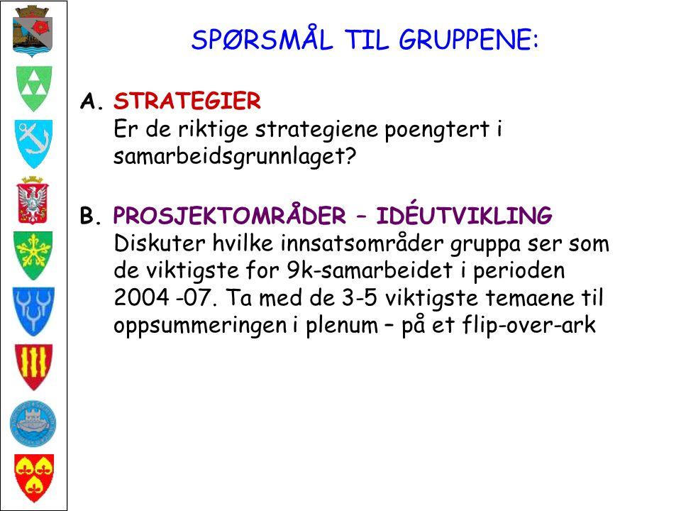 FRA GRUPPEARBEIDET: A: STRATEGIER Bred enighet om strategivalget i strategisk plan.