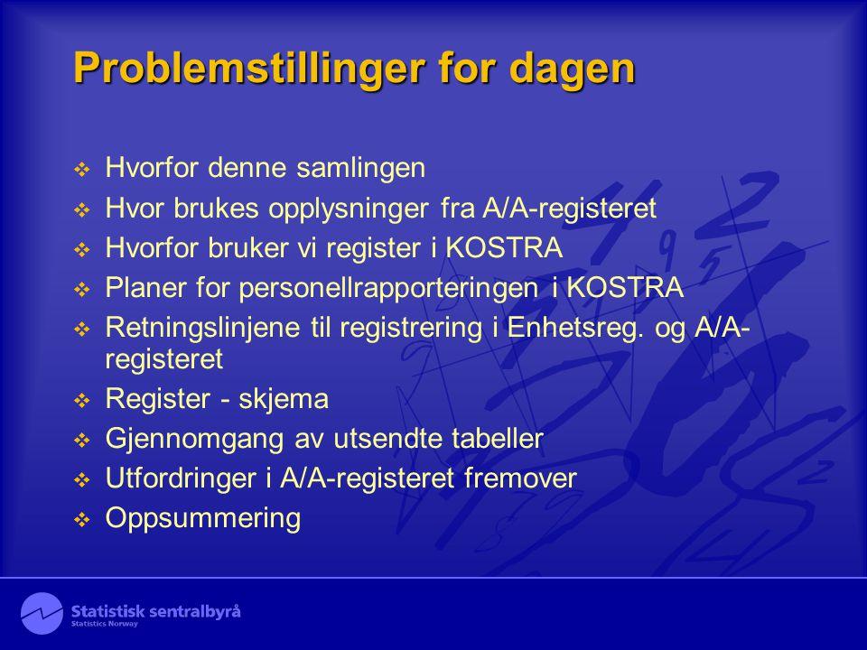 Problemstillinger for dagen  Hvorfor denne samlingen  Hvor brukes opplysninger fra A/A-registeret  Hvorfor bruker vi register i KOSTRA  Planer for personellrapporteringen i KOSTRA  Retningslinjene til registrering i Enhetsreg.