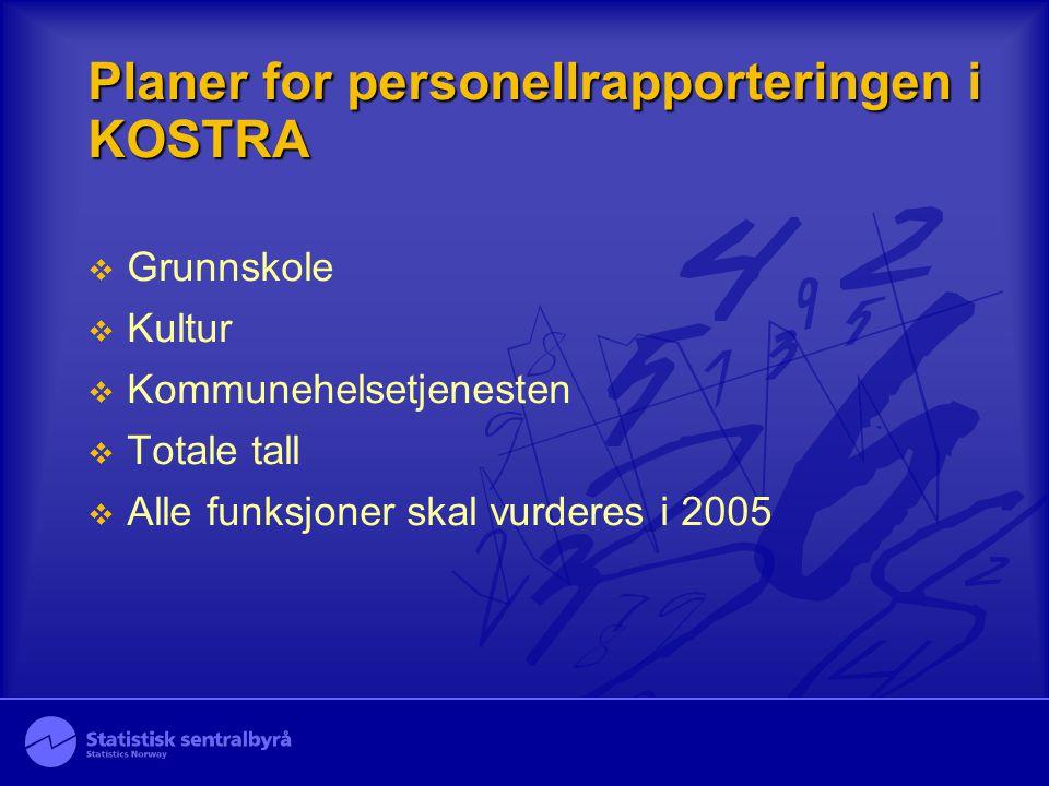 Planer for personellrapporteringen i KOSTRA  Grunnskole  Kultur  Kommunehelsetjenesten  Totale tall  Alle funksjoner skal vurderes i 2005