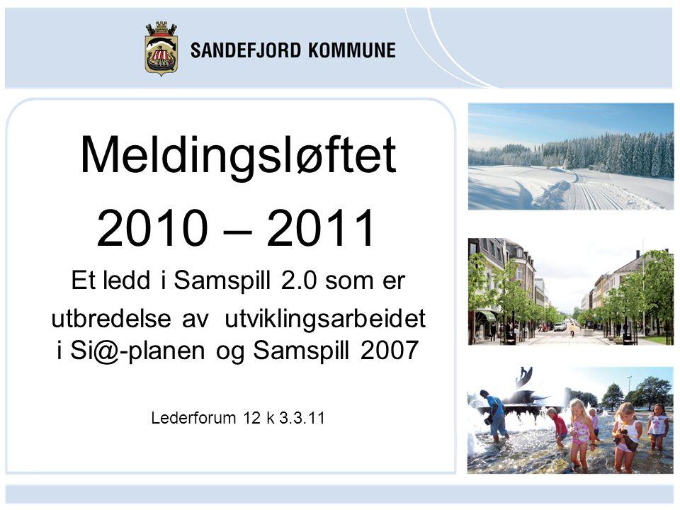 Meldingsløftet 2010 – 2011 Et ledd i Samspill 2.0 som er utbredelse av utviklingsarbeidet i Si@-planen og Samspill 2007 Lederforum 12 k 3.3.11