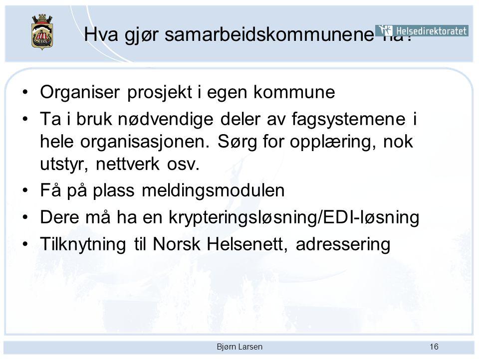 Bjørn Larsen16 Hva gjør samarbeidskommunene nå? Organiser prosjekt i egen kommune Ta i bruk nødvendige deler av fagsystemene i hele organisasjonen. Sø