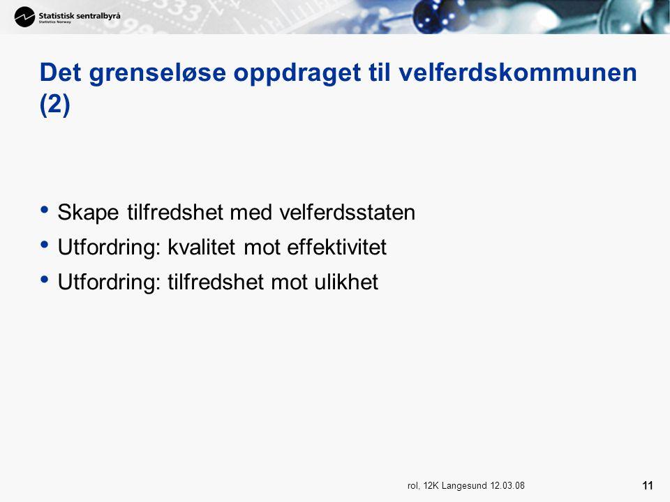 rol, 12K Langesund 12.03.08 11 Det grenseløse oppdraget til velferdskommunen (2) Skape tilfredshet med velferdsstaten Utfordring: kvalitet mot effektivitet Utfordring: tilfredshet mot ulikhet