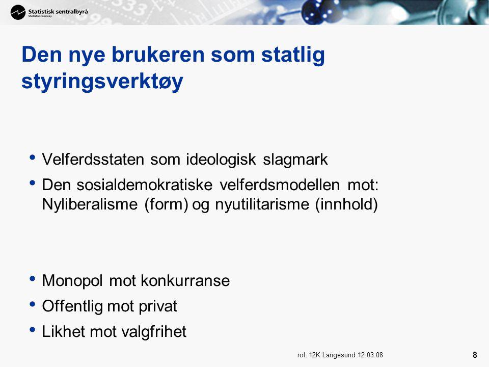 rol, 12K Langesund 12.03.08 8 Den nye brukeren som statlig styringsverktøy Velferdsstaten som ideologisk slagmark Den sosialdemokratiske velferdsmodellen mot: Nyliberalisme (form) og nyutilitarisme (innhold) Monopol mot konkurranse Offentlig mot privat Likhet mot valgfrihet