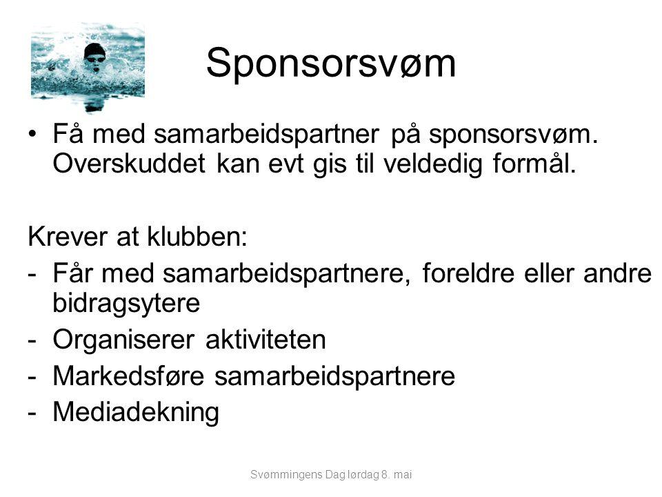 Sponsorsvøm Få med samarbeidspartner på sponsorsvøm. Overskuddet kan evt gis til veldedig formål. Krever at klubben: -Får med samarbeidspartnere, fore