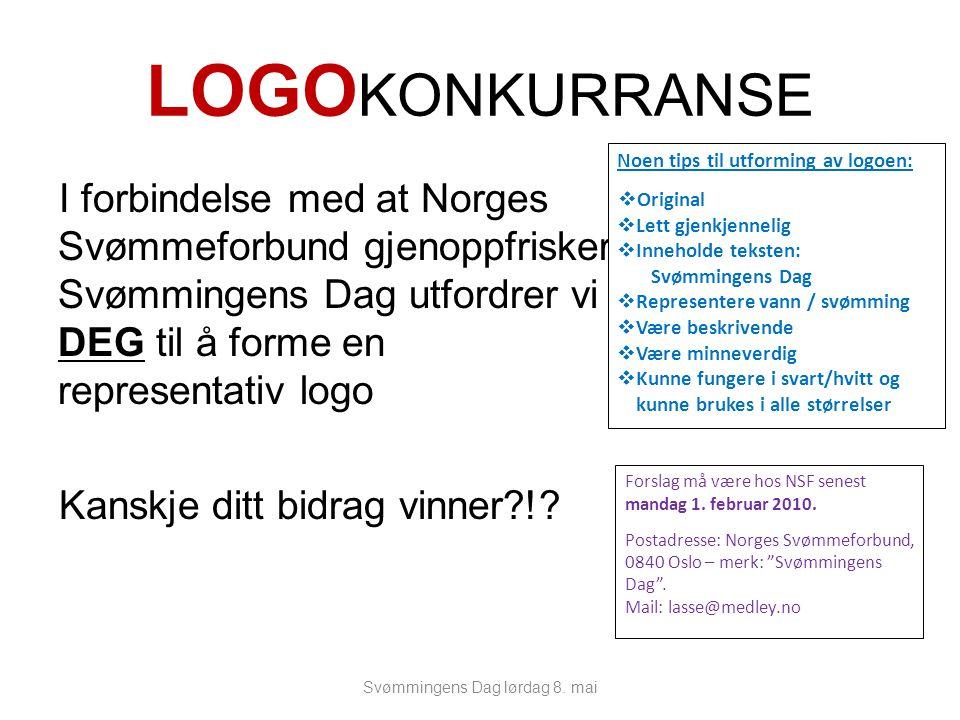 LOGO KONKURRANSE I forbindelse med at Norges Svømmeforbund gjenoppfrisker Svømmingens Dag utfordrer vi DEG til å forme en representativ logo Kanskje ditt bidrag vinner !.