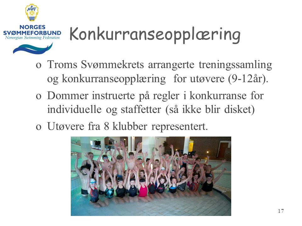 Konkurranseopplæring oTroms Svømmekrets arrangerte treningssamling og konkurranseopplæring for utøvere (9-12år). oDommer instruerte på regler i konkur