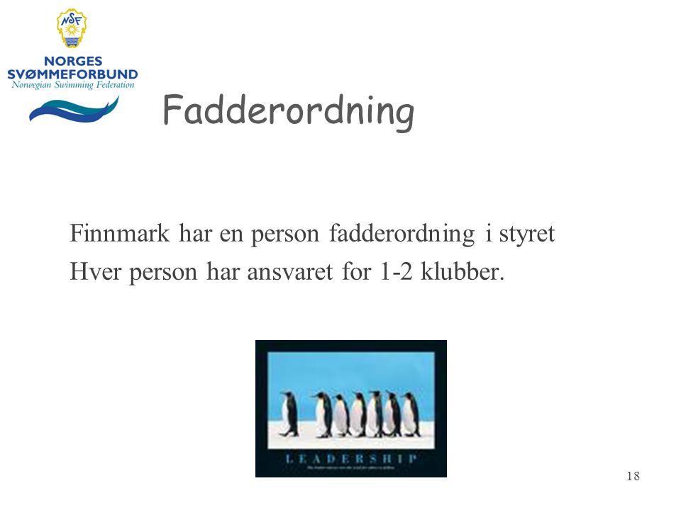 Fadderordning Finnmark har en person fadderordning i styret Hver person har ansvaret for 1-2 klubber. 18