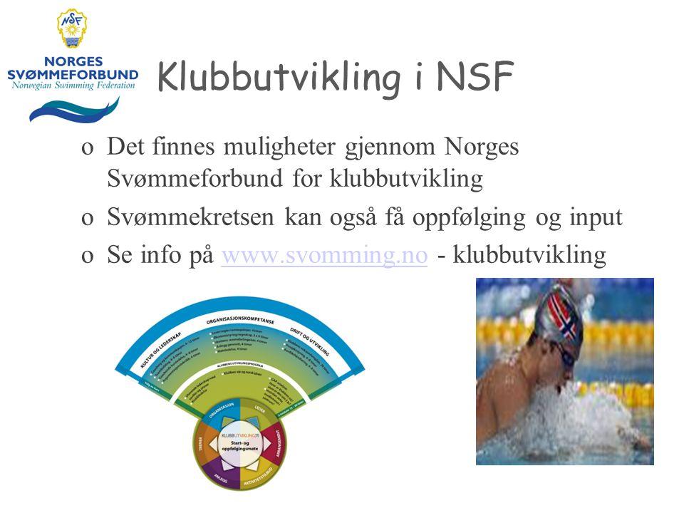 Klubbutvikling i NSF oDet finnes muligheter gjennom Norges Svømmeforbund for klubbutvikling oSvømmekretsen kan også få oppfølging og input oSe info på