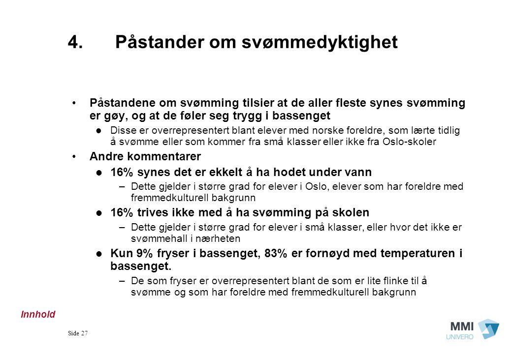 Side 27 4.Påstander om svømmedyktighet Påstandene om svømming tilsier at de aller fleste synes svømming er gøy, og at de føler seg trygg i bassenget D
