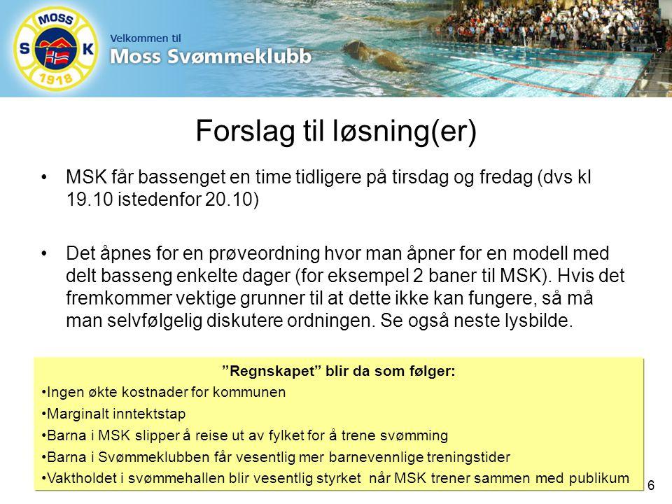Forslag til løsning(er) MSK får bassenget en time tidligere på tirsdag og fredag (dvs kl 19.10 istedenfor 20.10) Det åpnes for en prøveordning hvor man åpner for en modell med delt basseng enkelte dager (for eksempel 2 baner til MSK).