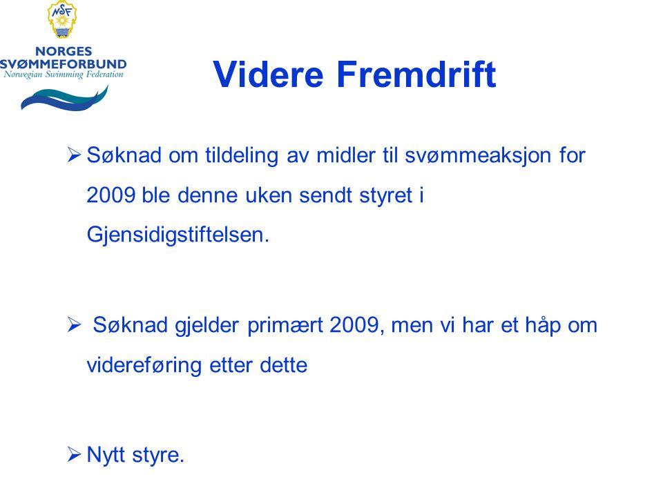 Videre Fremdrift  Søknad om tildeling av midler til svømmeaksjon for 2009 ble denne uken sendt styret i Gjensidigstiftelsen.