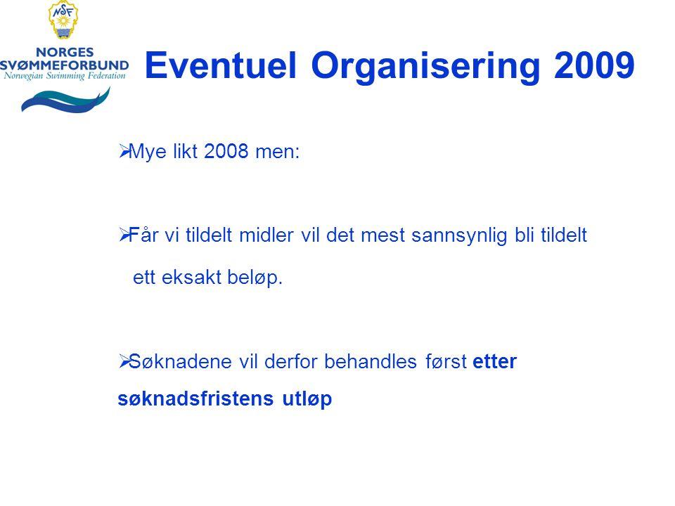 Eventuel Organisering 2009  Mye likt 2008 men:  Får vi tildelt midler vil det mest sannsynlig bli tildelt ett eksakt beløp.