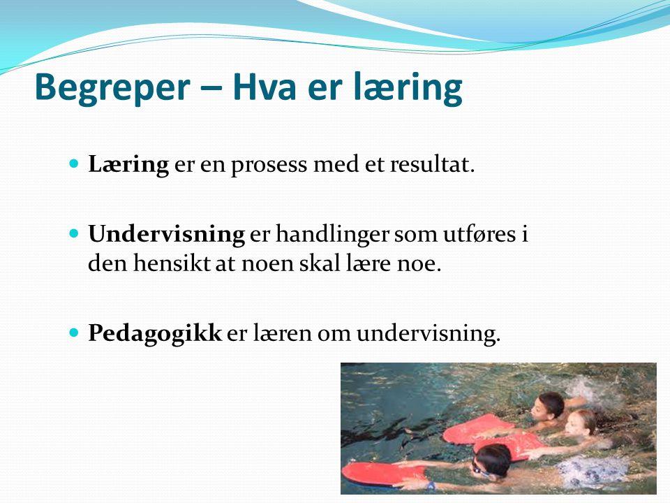 Begreper – Hva er læring Læring er en prosess med et resultat. Undervisning er handlinger som utføres i den hensikt at noen skal lære noe. Pedagogikk