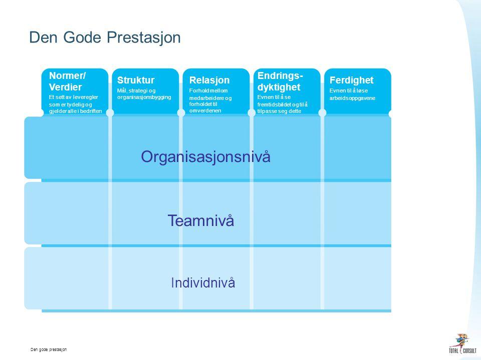 Den gode prestasjon Den Gode Prestasjon Normer/ Verdier Et sett av leveregler som er tydelig og gjelder alle i bedriften Struktur Mål, strategi og organisasjonsbygging Relasjon Forhold mellom medarbeidere og forholdet til omverdenen Endrings- dyktighet Evnen til å se fremtidsbildet og til å tilpasse seg dette Ferdighet Evnen til å løse arbeidsoppgavene Individnivå Teamnivå Organisasjonsnivå