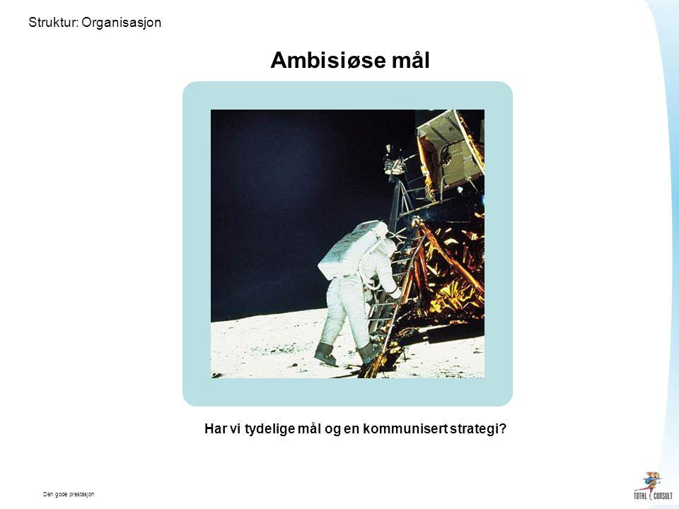 Den gode prestasjon Struktur: Organisasjon Ambisiøse mål Har vi tydelige mål og en kommunisert strategi?