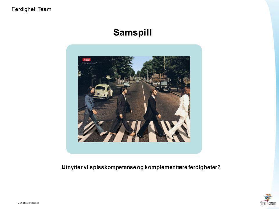 Den gode prestasjon Ferdighet: Team Samspill Utnytter vi spisskompetanse og komplementære ferdigheter?