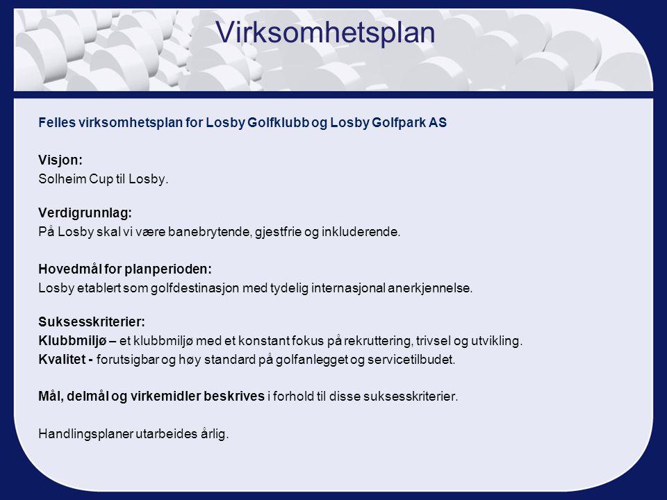 Felles virksomhetsplan for Losby Golfklubb og Losby Golfpark AS Visjon: Solheim Cup til Losby. Verdigrunnlag: På Losby skal vi være banebrytende, gjes