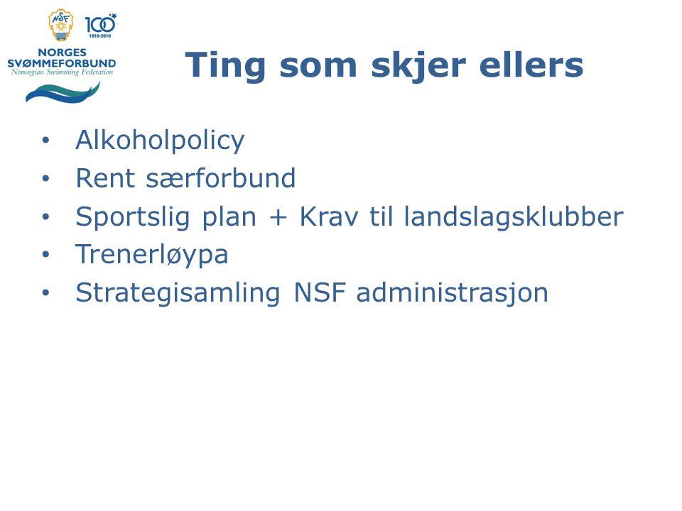 Ting som skjer ellers Alkoholpolicy Rent særforbund Sportslig plan + Krav til landslagsklubber Trenerløypa Strategisamling NSF administrasjon