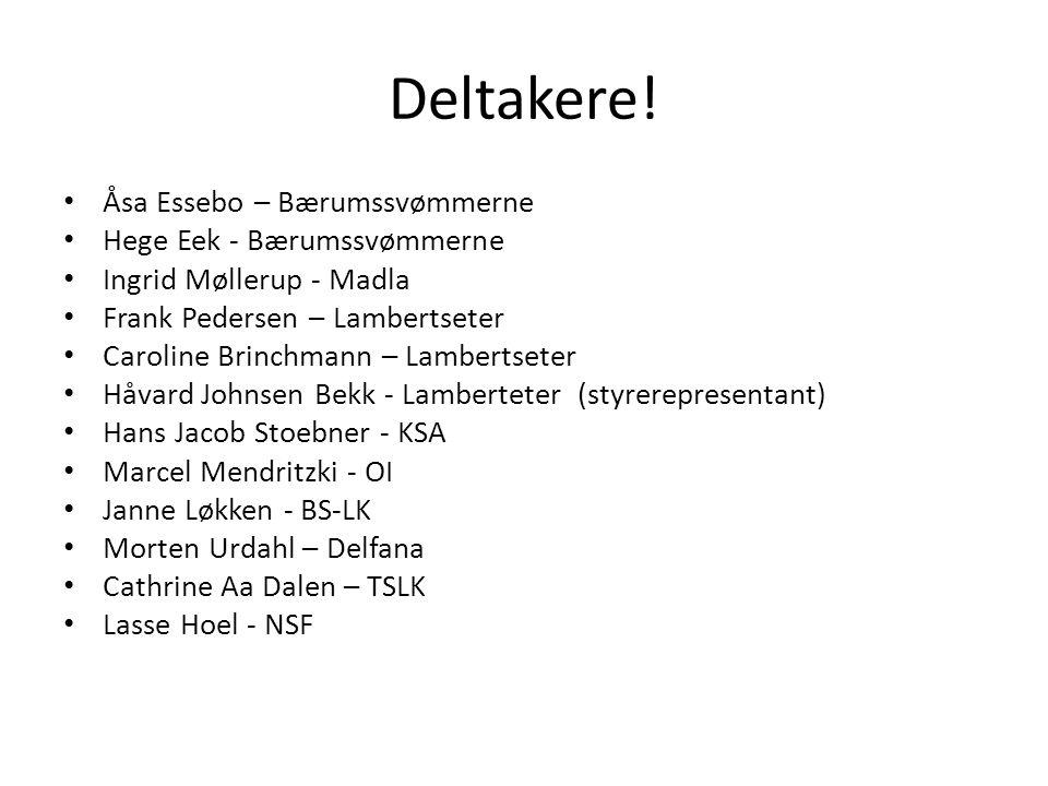Deltakere! Åsa Essebo – Bærumssvømmerne Hege Eek - Bærumssvømmerne Ingrid Møllerup - Madla Frank Pedersen – Lambertseter Caroline Brinchmann – Lambert