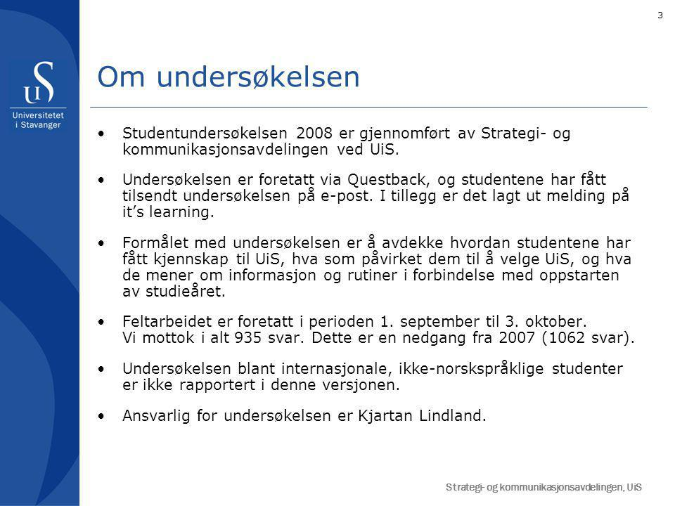 14 Figuren til venstre viser hvor viktig ulike faktorer er for at studentene valgte UiS.