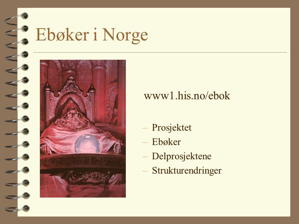 Ebøker i Norge www1.his.no/ebok –Prosjektet –Ebøker –Delprosjektene –Strukturendringer