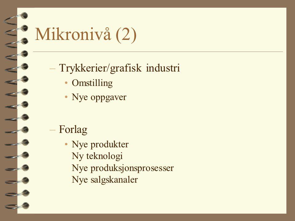 Mikronivå (2) –Trykkerier/grafisk industri Omstilling Nye oppgaver –Forlag Nye produkter Ny teknologi Nye produksjonsprosesser Nye salgskanaler