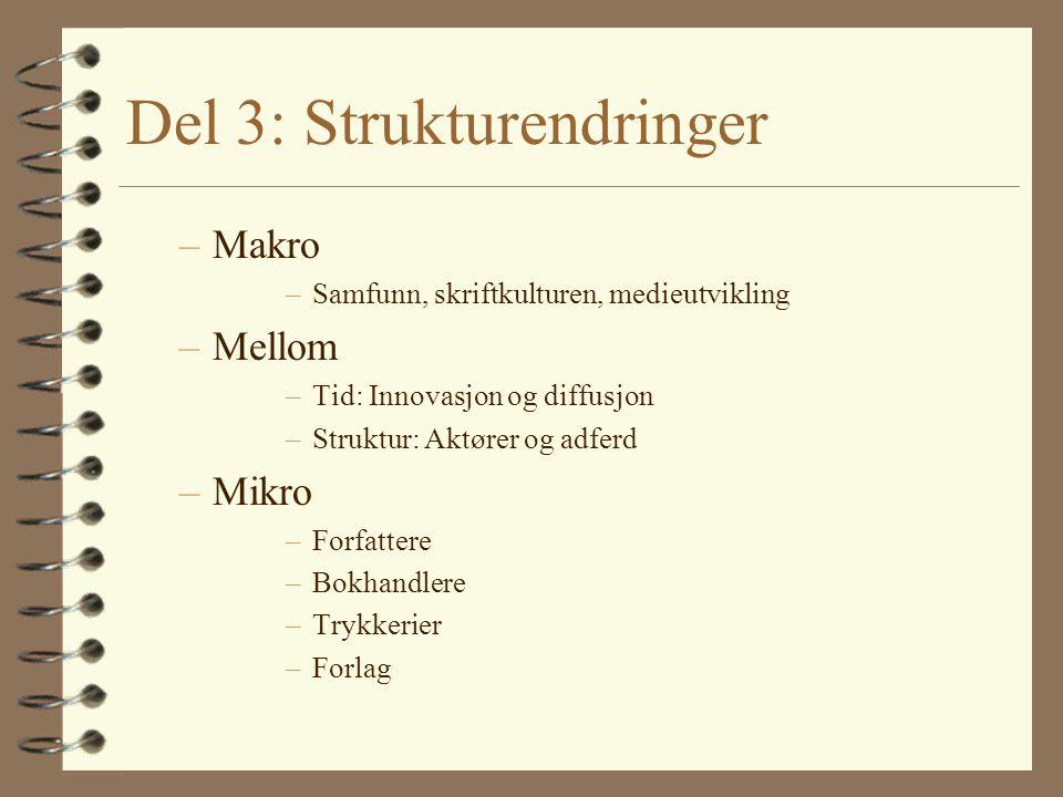Del 3: Strukturendringer –Makro –Samfunn, skriftkulturen, medieutvikling –Mellom –Tid: Innovasjon og diffusjon –Struktur: Aktører og adferd –Mikro –Fo