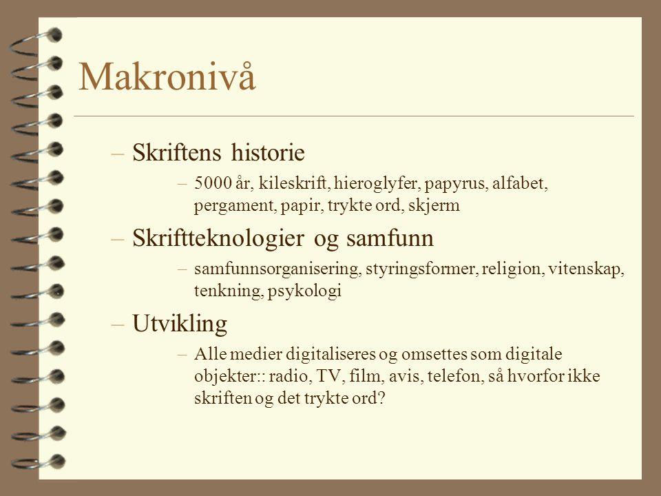 Makronivå –Skriftens historie –5000 år, kileskrift, hieroglyfer, papyrus, alfabet, pergament, papir, trykte ord, skjerm –Skriftteknologier og samfunn