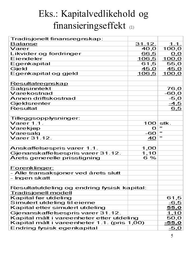 6 Eks.: Kapitalvedlikehold og finansieringseffekt (2)
