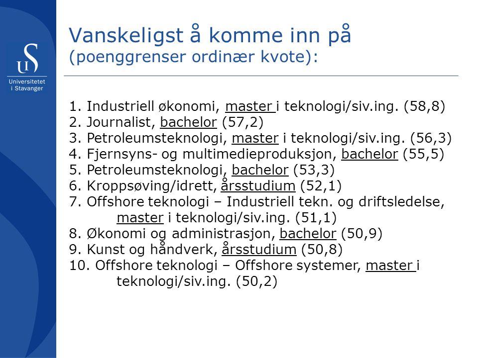 Organisatorisk tilrettelegging for Universitetet i Stavanger