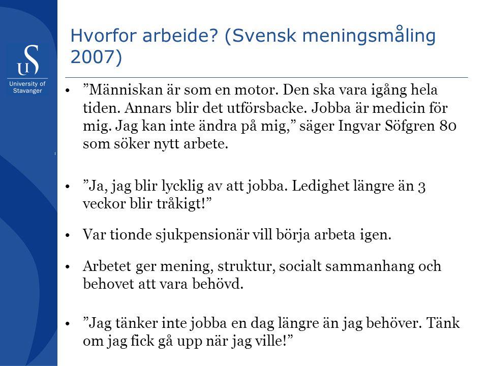 Hvorfor arbeide.(Svensk meningsmåling 2007) Människan är som en motor.