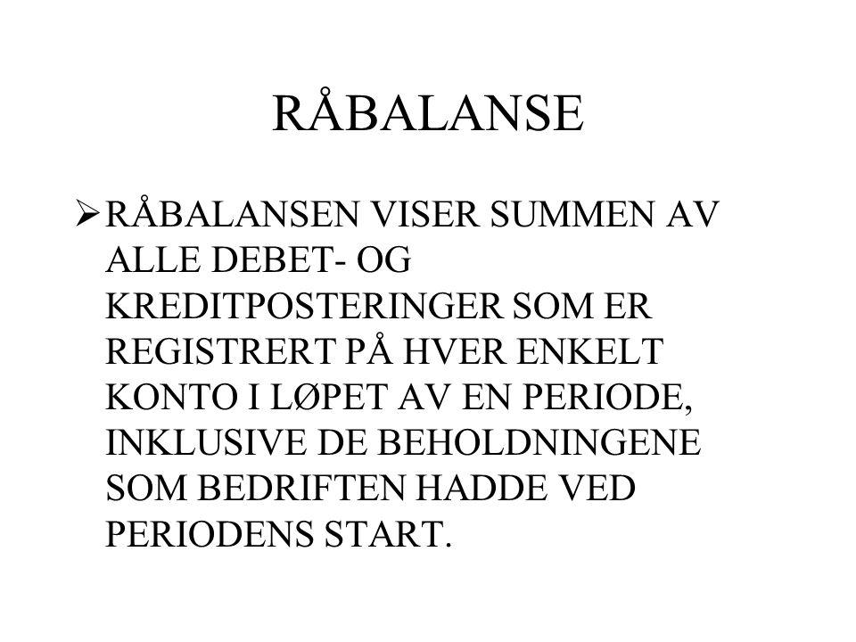 SALDOBALANSE  SALDOBALANSEN VISER NETTO- REGISTRERINGENE, DVS.