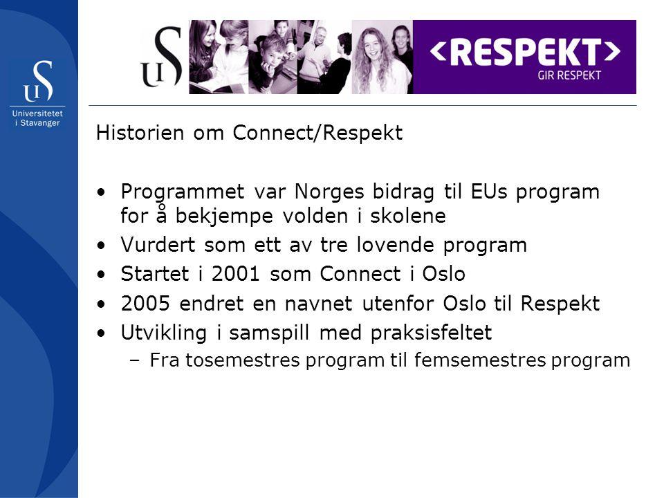 Historien om Connect/Respekt Programmet var Norges bidrag til EUs program for å bekjempe volden i skolene Vurdert som ett av tre lovende program Startet i 2001 som Connect i Oslo 2005 endret en navnet utenfor Oslo til Respekt Utvikling i samspill med praksisfeltet –Fra tosemestres program til femsemestres program