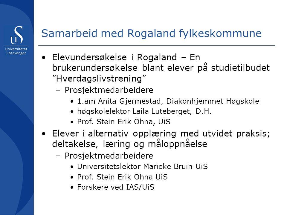 Bestilling fra Opplæringsutvalget, sak 11/08 Opplæringsutvalget ber om at Rogaland fylkeskommune tar initiativ til å starte et forskningsprosjekt, knyttet til Rogaland for å få inn data på læringseffekt, sysselsettingseffekt og lignende for elever som er omtalt i sak 11/08.