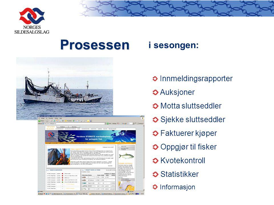 Prosessen i sesongen: Innmeldingsrapporter Auksjoner Motta sluttseddler Sjekke sluttseddler Faktuerer kjøper Oppgjør til fisker Kvotekontroll Statisti