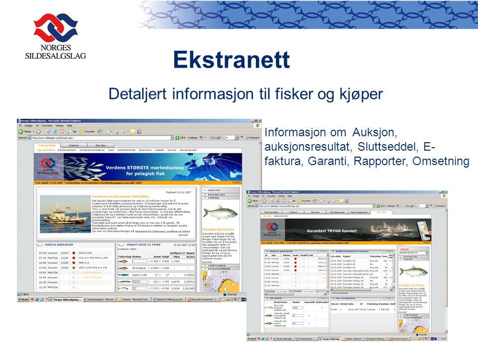 Ekstranett Detaljert informasjon til fisker og kjøper Informasjon om Auksjon, auksjonsresultat, Sluttseddel, E- faktura, Garanti, Rapporter, Omsetning