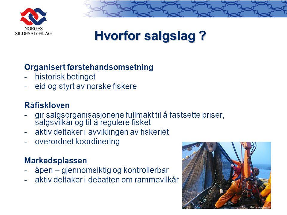 Organisert førstehåndsomsetning -historisk betinget -eid og styrt av norske fiskere Råfiskloven - gir salgsorganisasjonene fullmakt til å fastsette pr