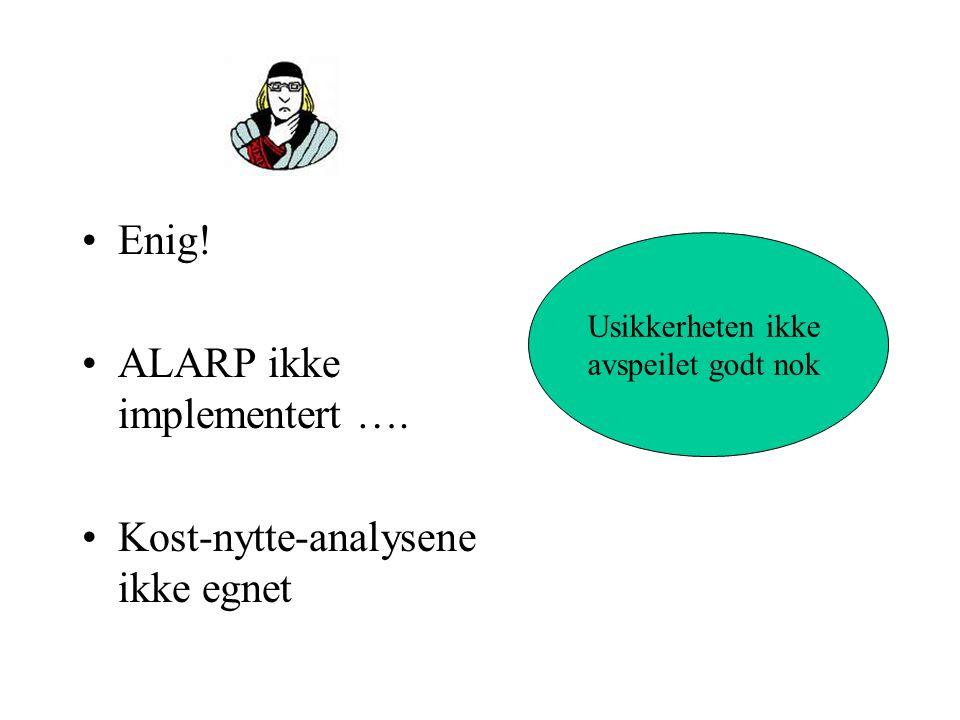 Enig.ALARP ikke implementert ….
