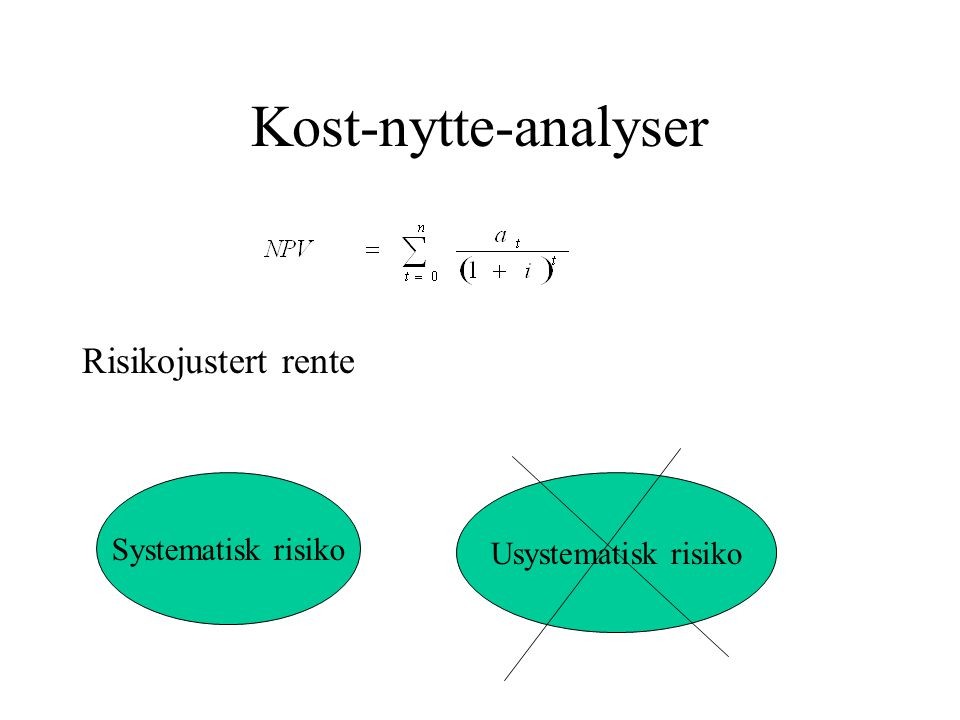 Kost-nytte-analyser Risikojustert rente Systematisk risiko Usystematisk risiko