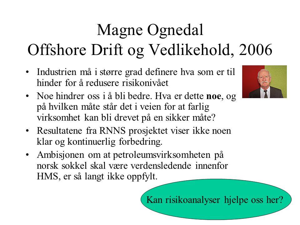 Magne Ognedal Offshore Drift og Vedlikehold, 2006 Industrien må i større grad definere hva som er til hinder for å redusere risikonivået Noe hindrer oss i å bli bedre.