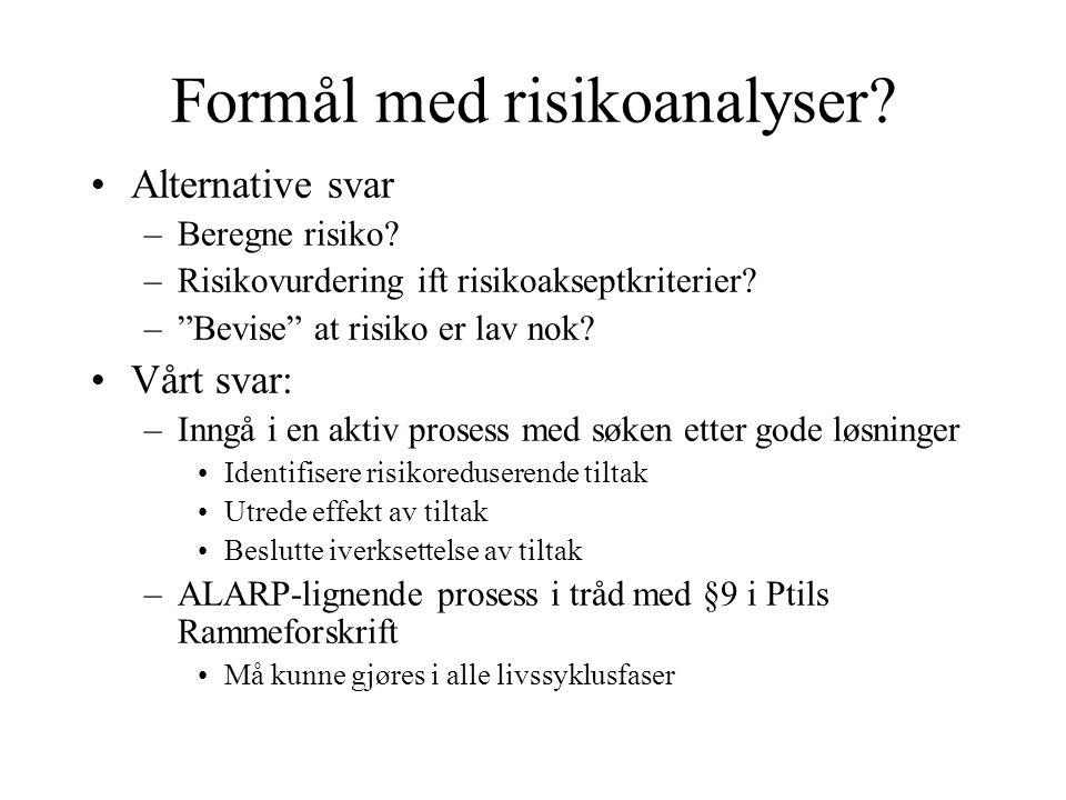 Formål med risikoanalyser.Alternative svar –Beregne risiko.